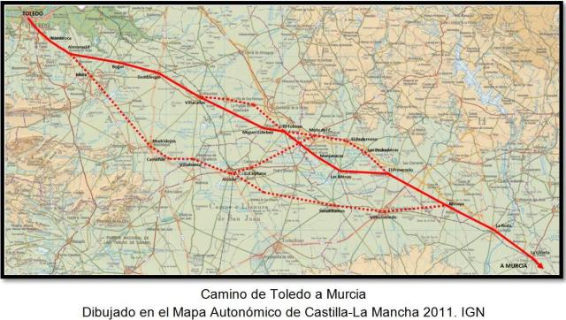 Camino de Toledo a Murcia con todas las variantes